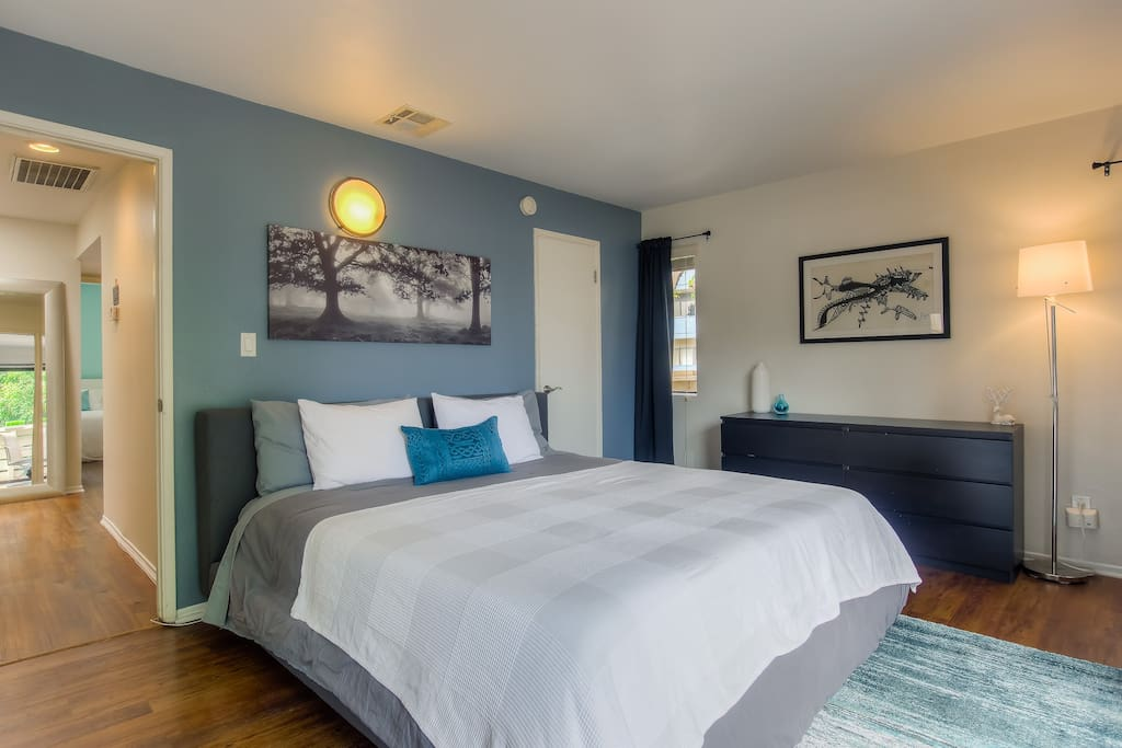"""A relaxing stay awaits with a King size bed, black out blinds and 55"""" HDTV  in the Master bedroom"""