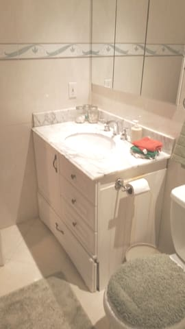 Full guest bathroom is right across from the guest bedroom, towels, hair dryer, Qtips, spare toothbrush, Robes and more.
