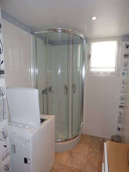 Salle de bain équipée d'une douche et d'un lave linge