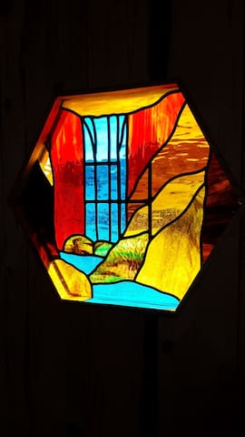 """Custom stained glass window with our """"hidden"""" ranch brand in it!"""