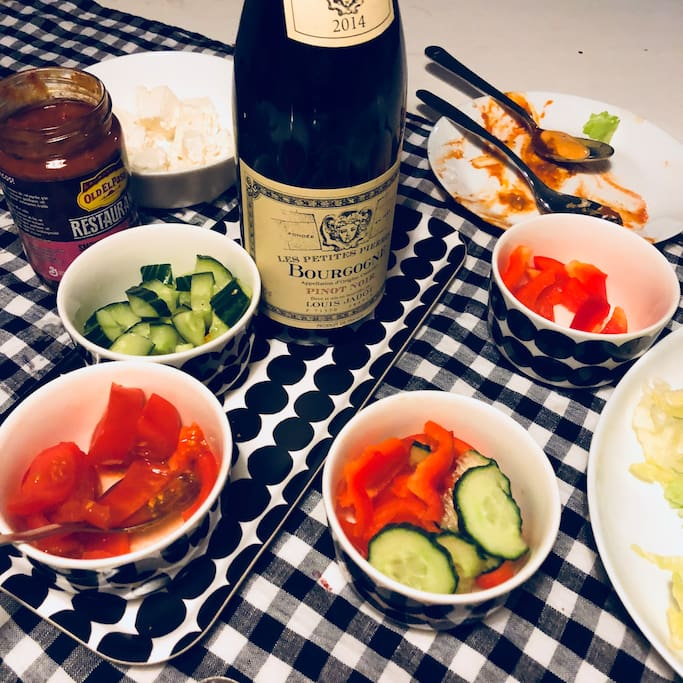 You can cook your favorite dishes and have a nice dinner with friends:)