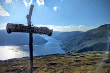 Hike Olsnessåta 600m above the fjord. 16km drive past beautiful Bruvik and 2 hours hike to summit. Our Osterøy favorite with 270 degrees fjord-view!