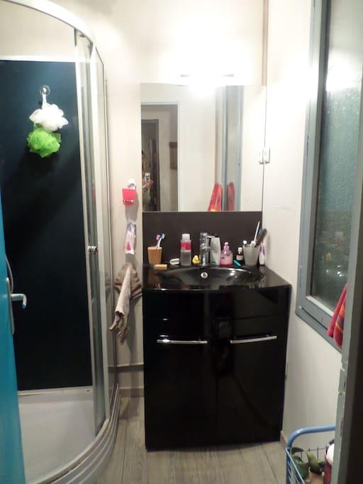 La petite salle de bain avec lavabo et cabine de douche...