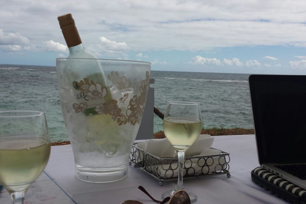 Chilled wine on the beach