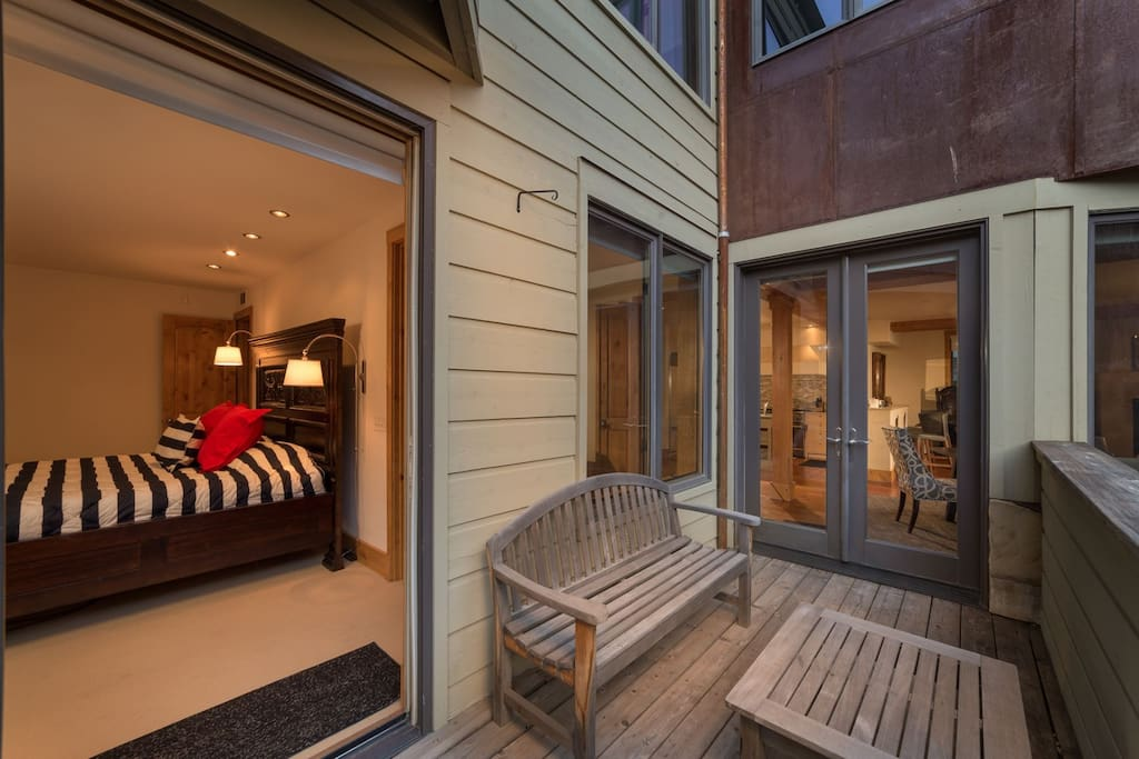 Large deck accessed through living area or master bedroom