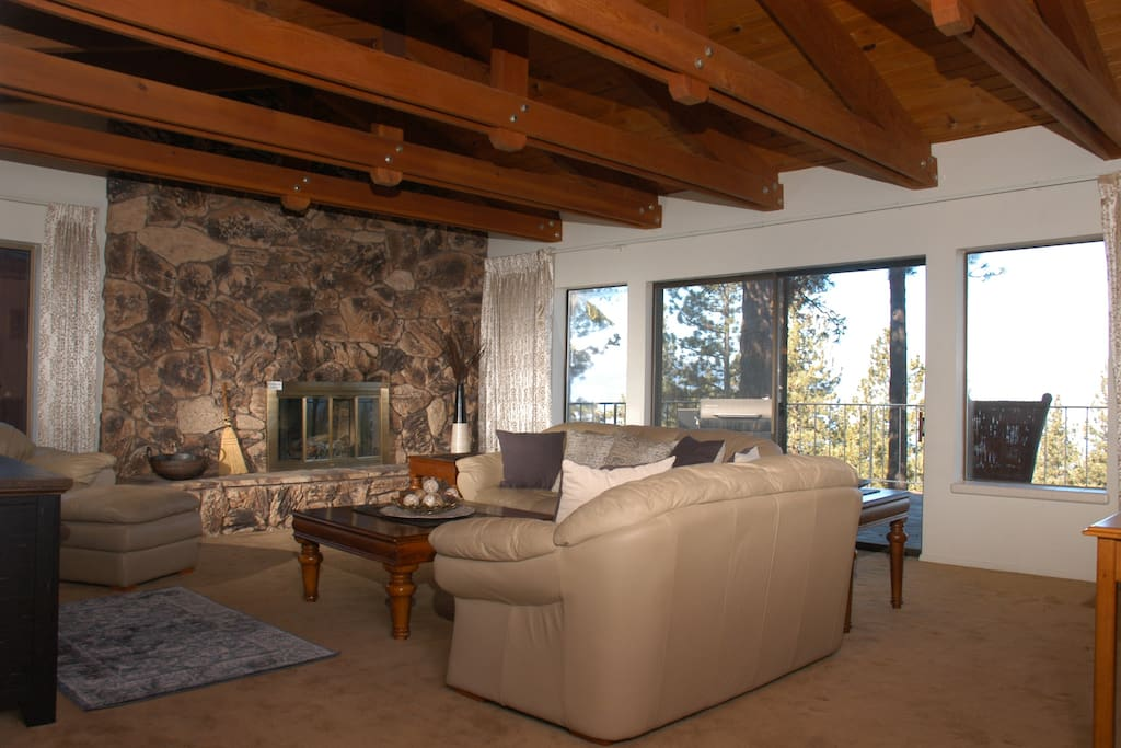 Top floor living room with a lake view