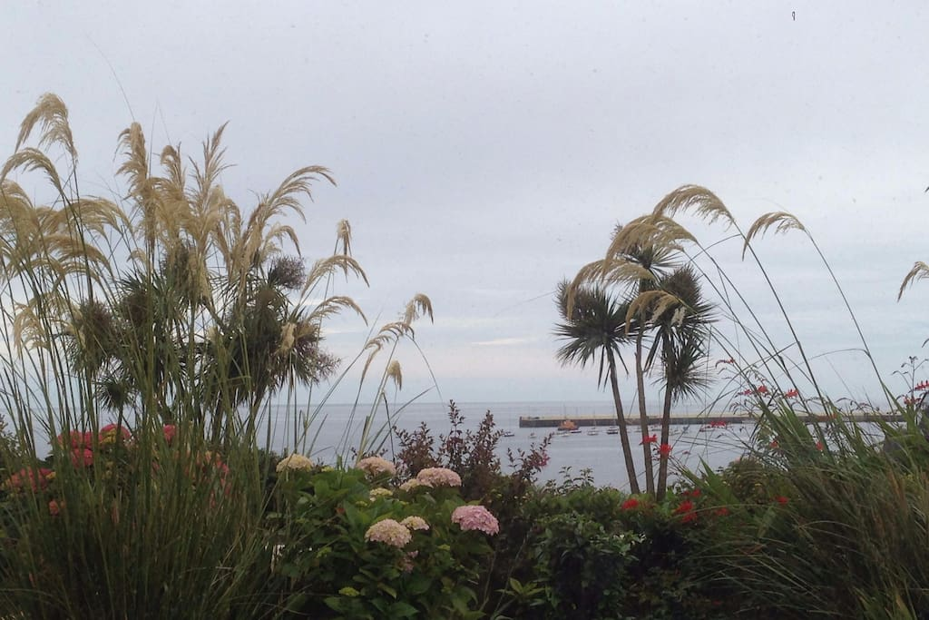 The view of Port St Mary harbour from Chapel Bay Lodge garden and patio