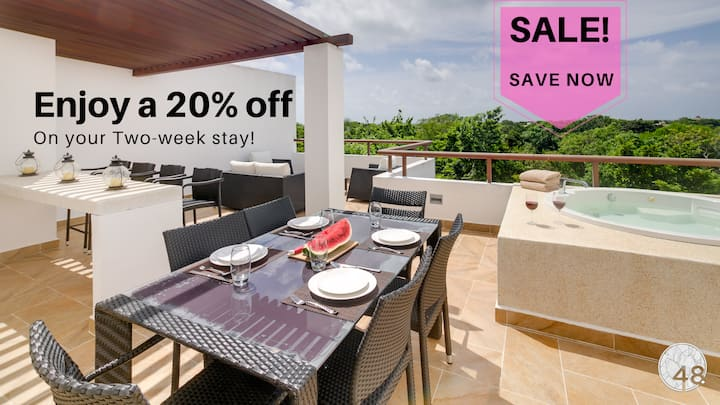 Special Price! Tasteful PH- Views, Rooftop, Jacuzzi + Access to Beach & Resort