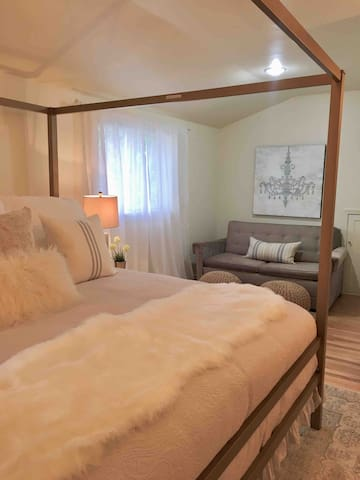 Pull out hide a bed couch in master suite. (Full size)