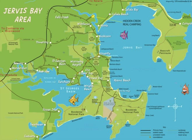 Jervis Bay Area showing Wrights Beach location