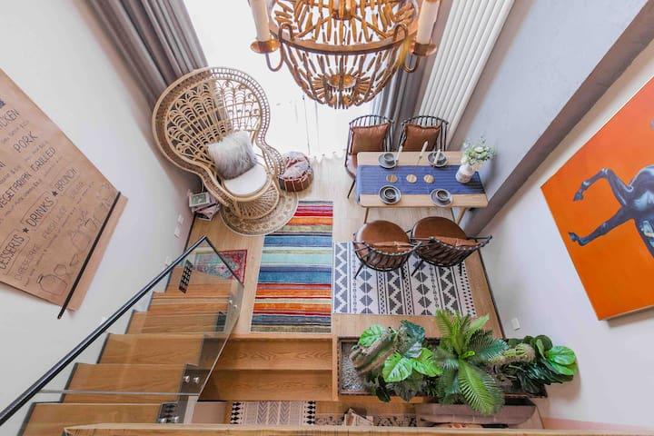 「沐子的家」火车站栈桥海景loft公寓