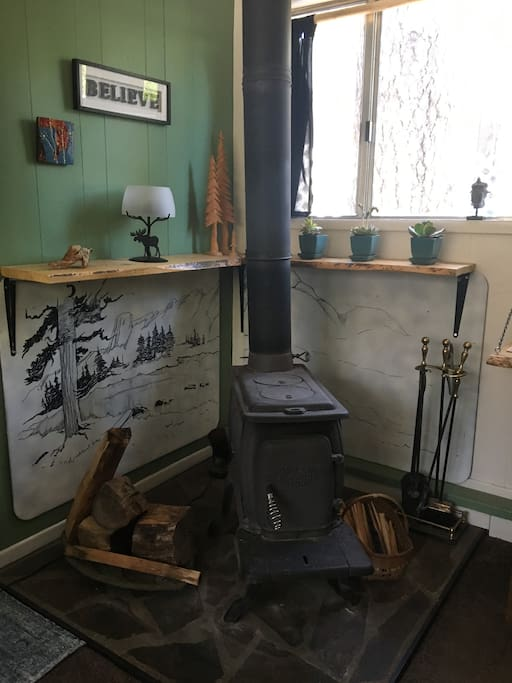 Wood burning stove - heats the cottage very well