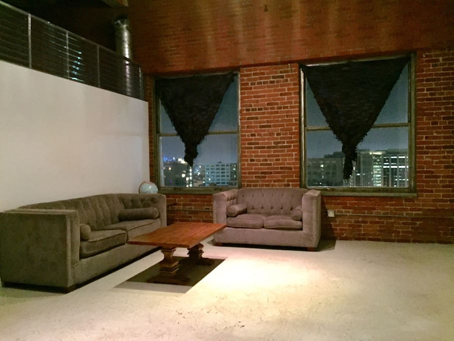 Living room with the view of Downtown Los Angeles