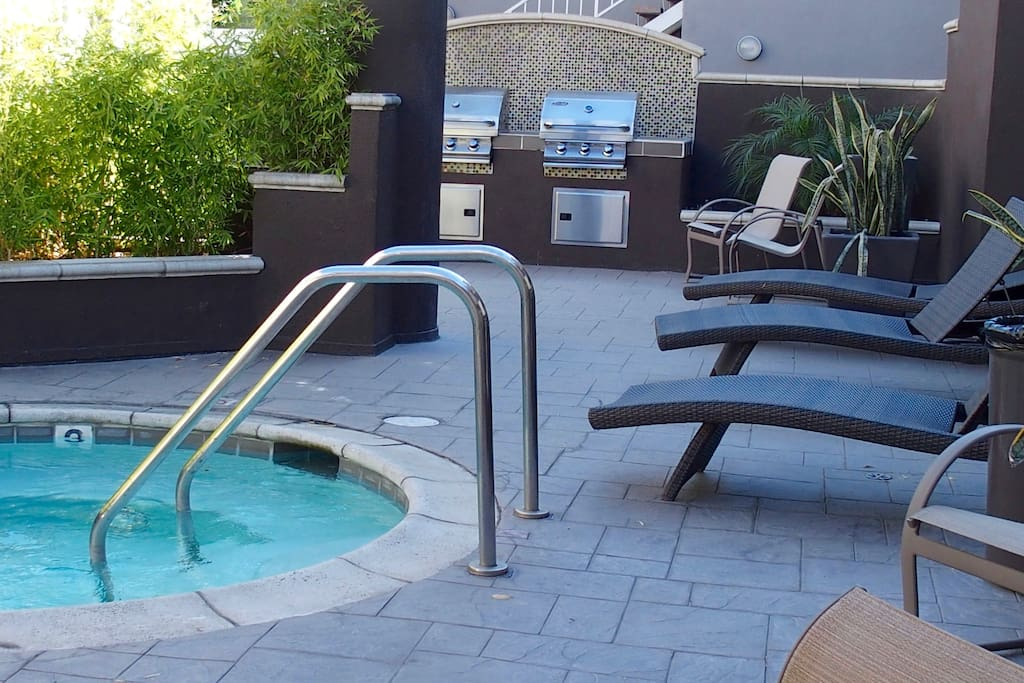 Hot Tub and BBQ area right outside door.