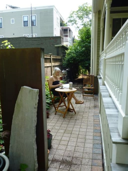 In summer enjoy your coffee in side garden.