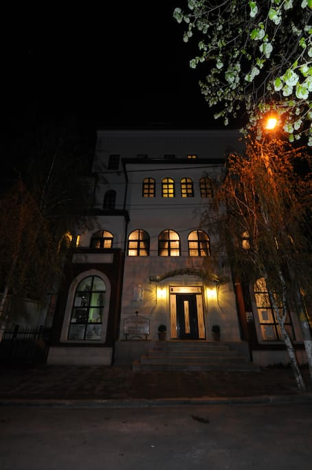 Outside view of building at night
