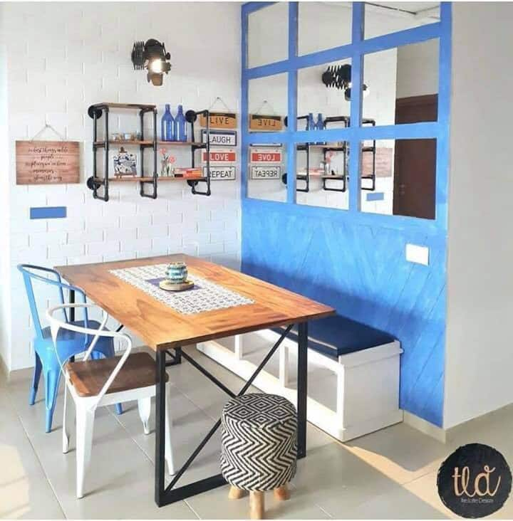 Apartment with the blue brick wall