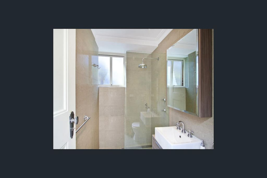 Renovated and stylish bathroom separate from bedroom.