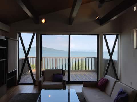 Goto対象!糸島観光にも最適!海を一望する特等席デッキのある最新設備戸建て。駐車4台無料!消毒液有