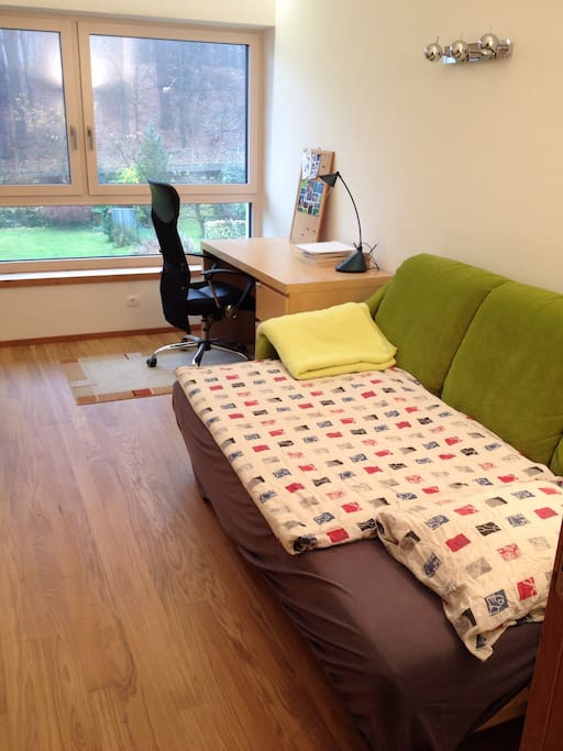 Your room: extendable sofa (1 person), extra mattress on the floor for 2nd person