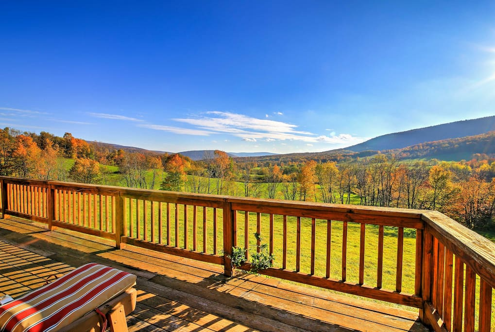 The cabin is secluded on 125 acres of land -providing unobstructed hillside views!