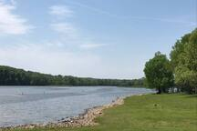 Paris Landing State Park Public swimming beach, 15 minutes from cabin, free parking.