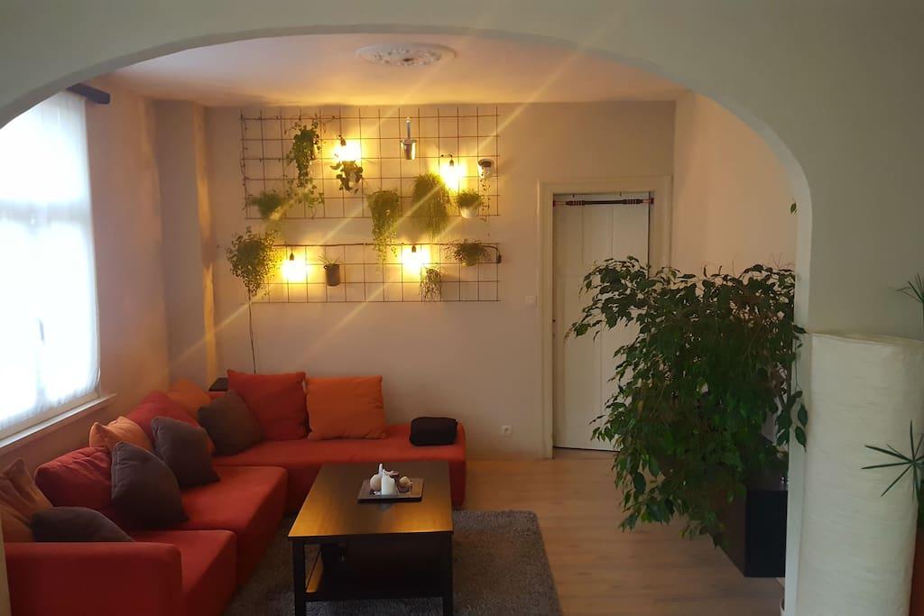 Salon met verlichtingsmuur.