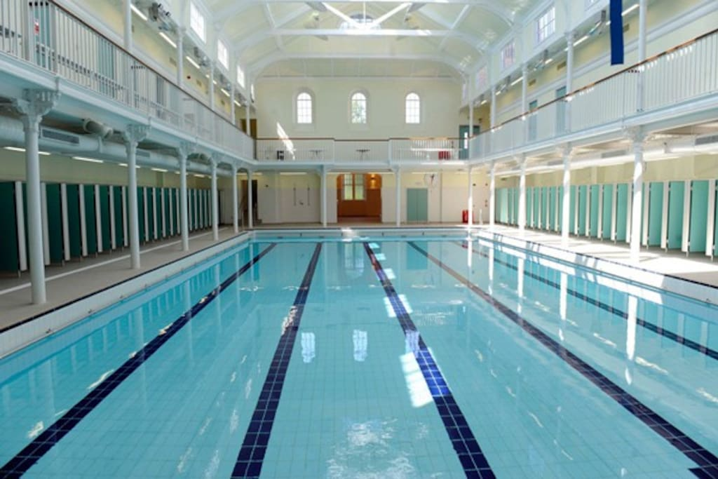 Beautiful Victorian swimming pool 5 minutes walk away.
