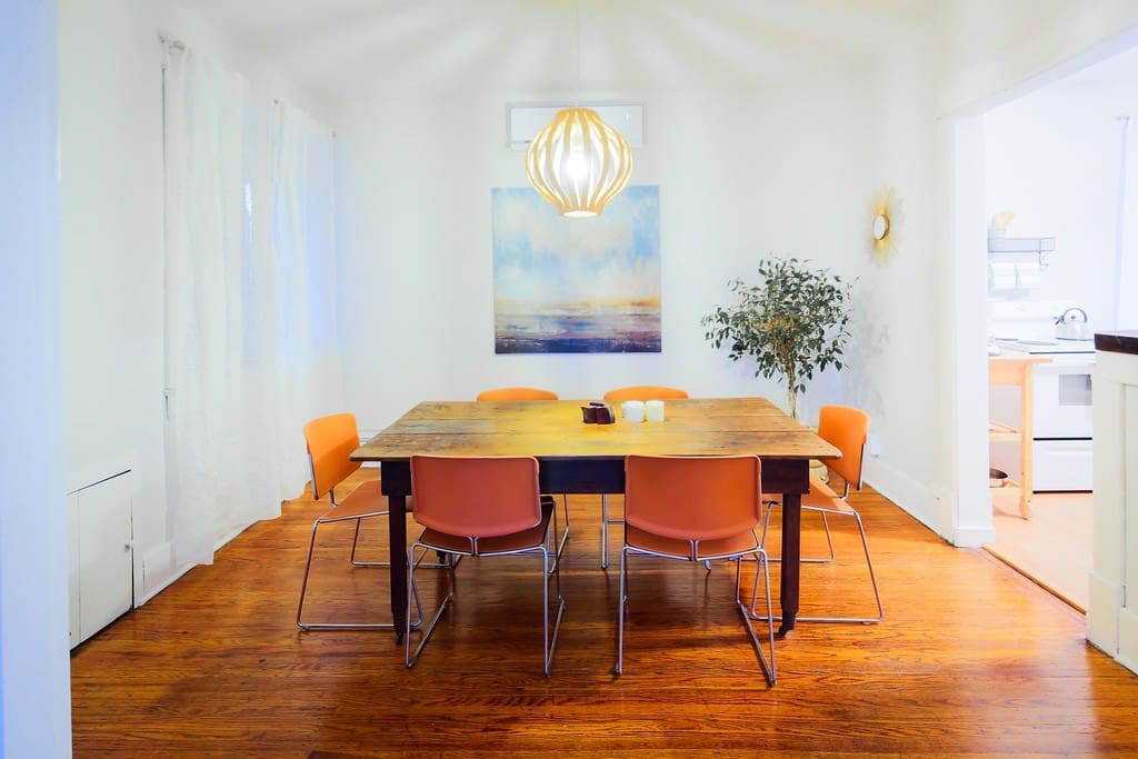 Dining room table that comfortably seats six.