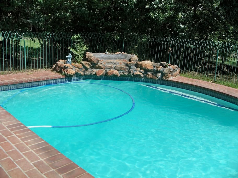 Swimming pool secured with safety fence