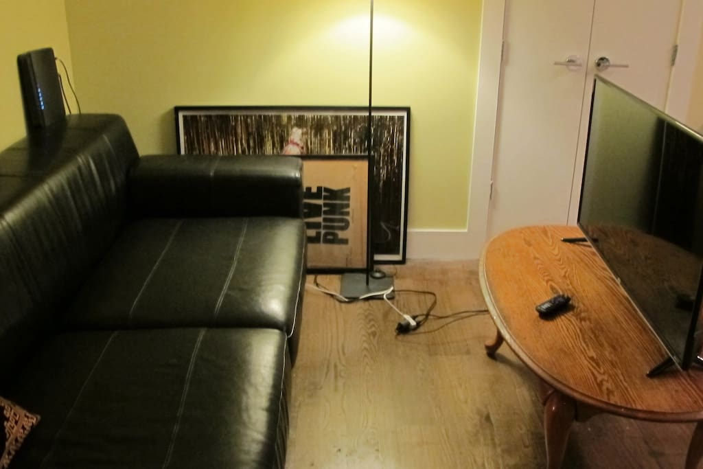 Nice leather couch and flat screen TV