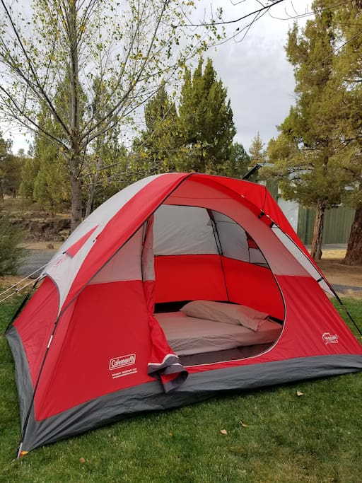 Our tent (and, air mattresses) are available for a one time set-up fee of $15....we'll have it all set up and ready for you when you arrive.