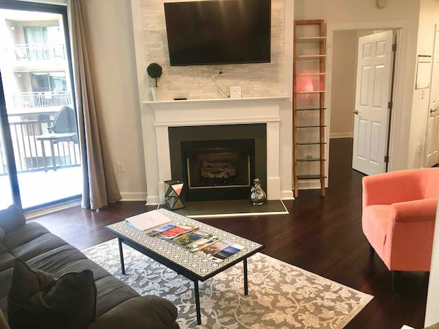 Upscale 2BR/2BA with Free Parking Condo downtown.