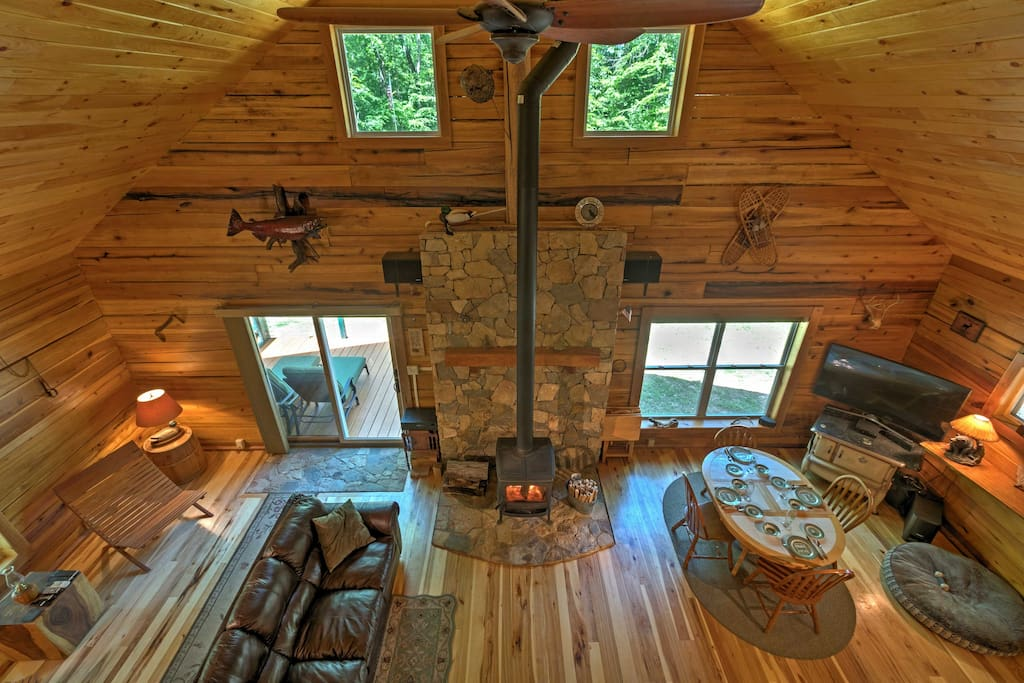 Newly built with love and care, the log cabin boasts 1,350 square feet of space.