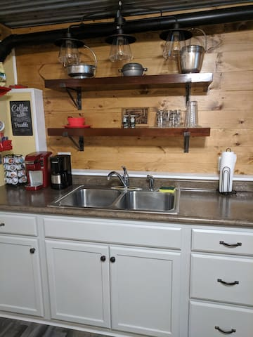 Full kitchen sink with cabinets for guests to put food.