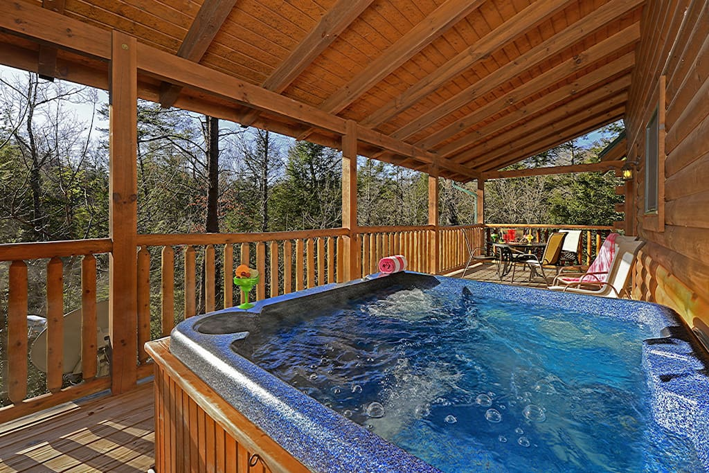 Relax in the hot tub after a day of activities.