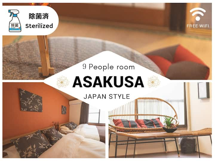 ▼Sterilized▼9 pax /2 stories/10 mins to Asakusa:)
