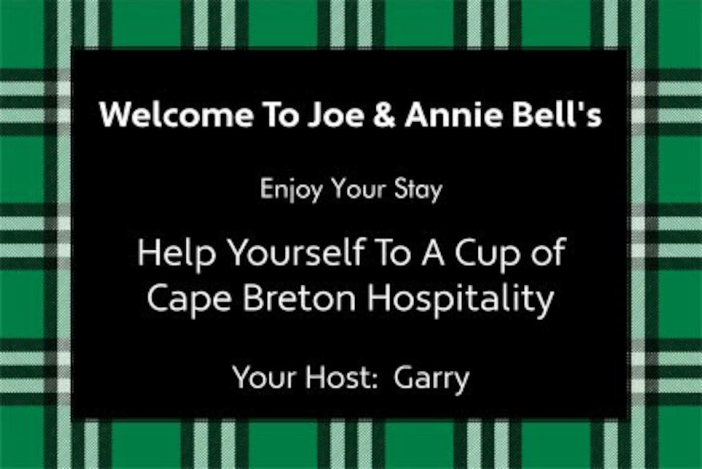 Welcome to Joe & Annie Belle 's Airbnb, Cape Breton, Nova Scotia