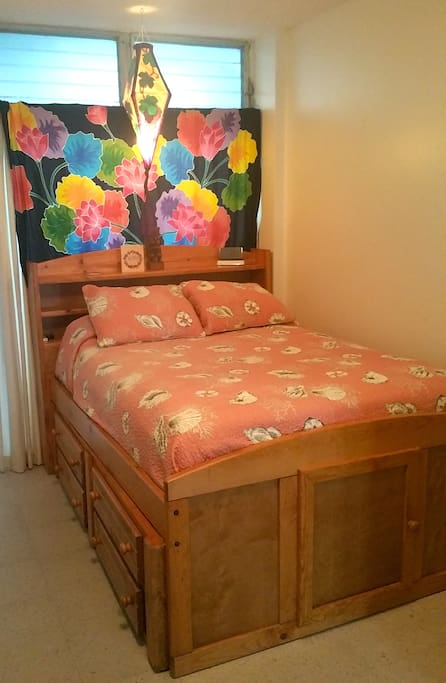 This Full Size Bed Can Be Used for 2 Guests. It has a Cloud 9 Mattress and a Memory Foam Topper.