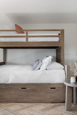 Downstairs Bedroom 2 with Queen Lower Bunk, Twin Upper Bunk