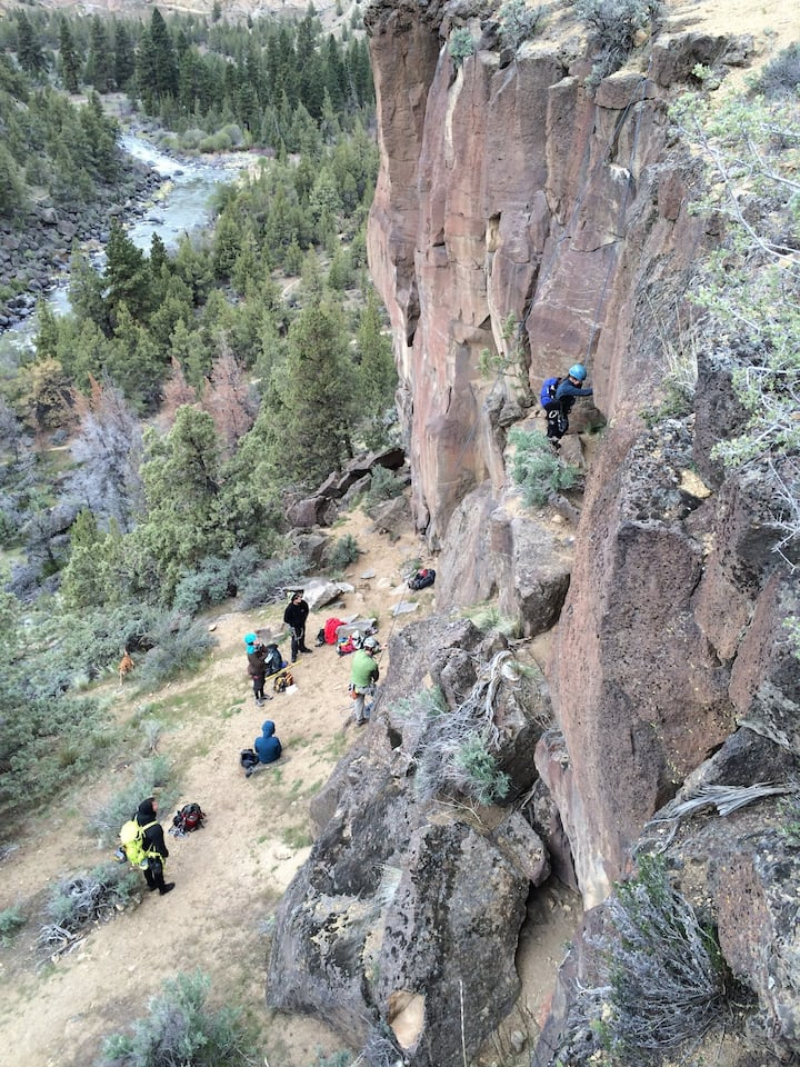 Group climbing over Crooked River