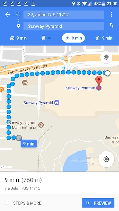 Walk to Sunway Pyramid and Sunway Lagoon