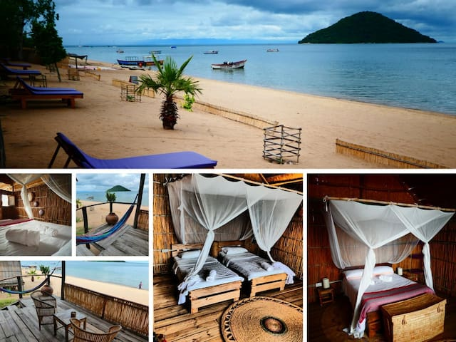 Beach Front Chalets that sleep 2 in a double bed or twins with Shared showers & Toilets