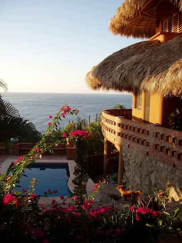 Colorful Mexican oceanfront house