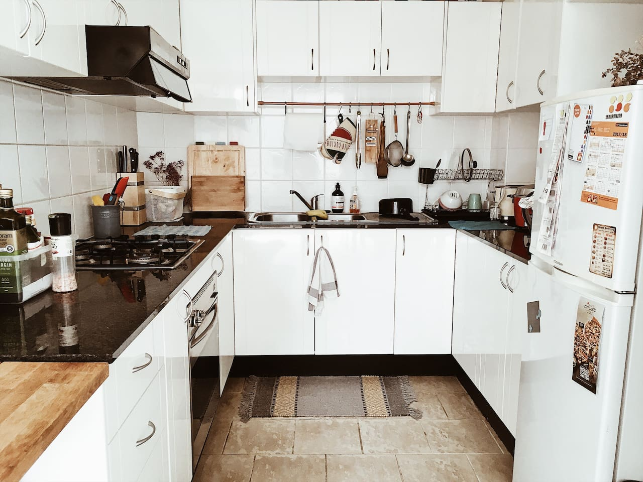 tiny but well-equipped kitchen, you can use everything here. you can prepare your own meal or if you like you can have dinner with us, we like food and share:)