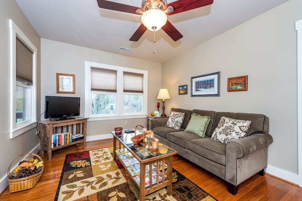 Recently remodeled living room offers a cozy setting for gatherings.