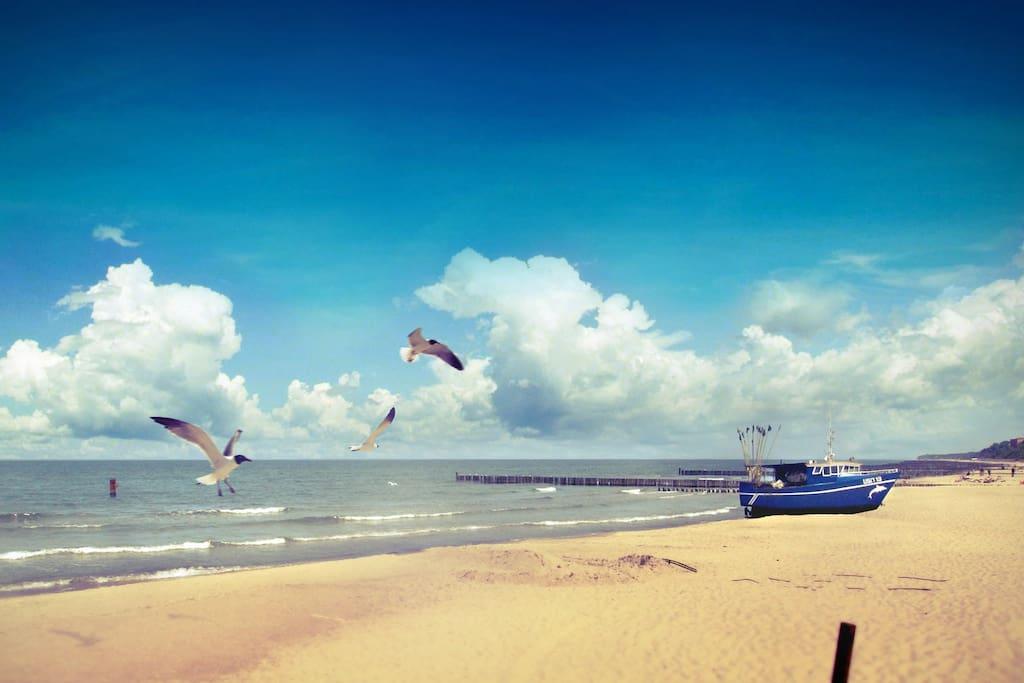 Beach in Ustronie Morskie.