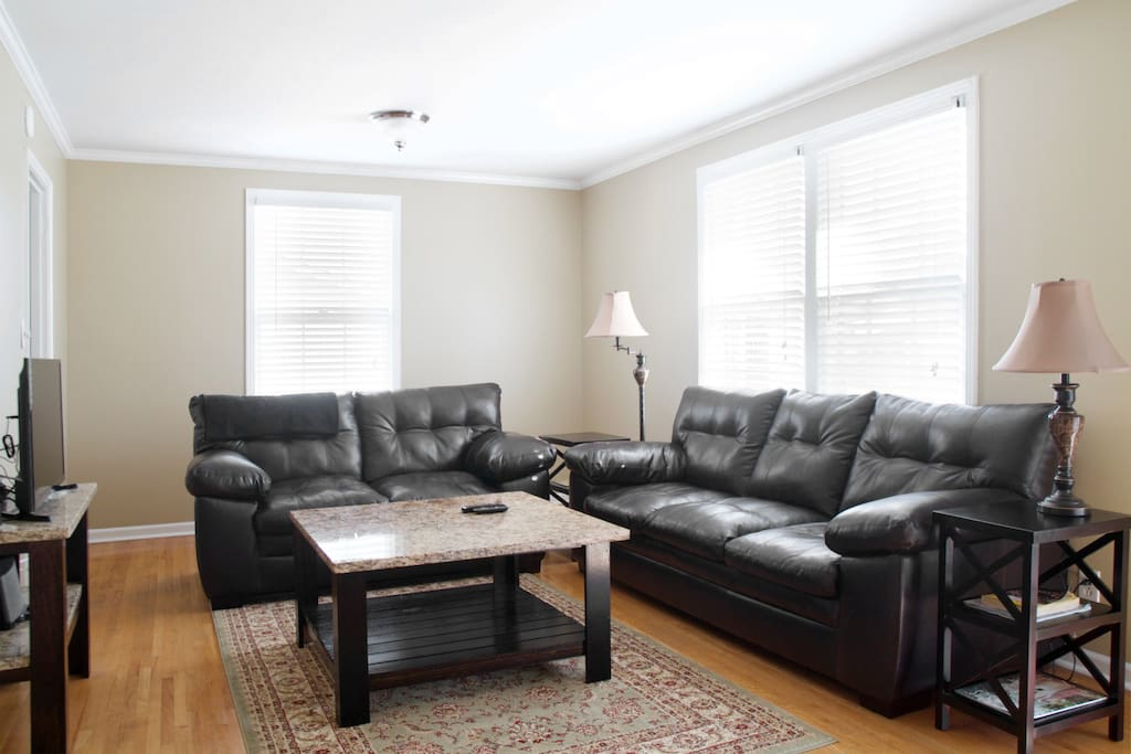 Living Room with leather sofas