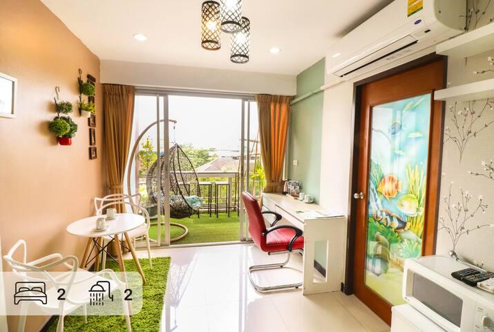 Hip&Stunning Patio!! 2BR/2BATH suite, MRT Lumpini