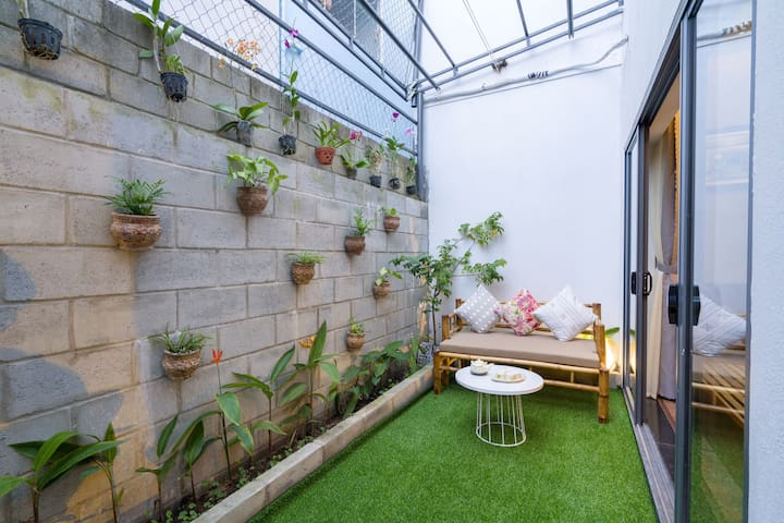 This space belongs to ground floor room-small private garden.